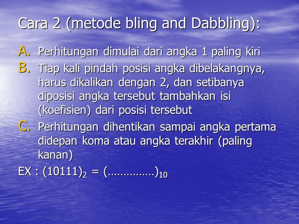 Cara 2 (metode bling and Dabbling): A. Perhitungan dimulai dari angka 1 paling kiri B. Tiap kali pindah posisi angka dibelakangnya, harus dikalikan de