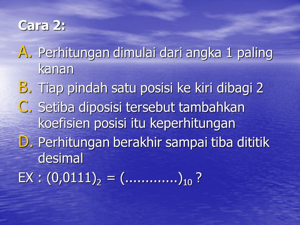 Cara 2: A. Perhitungan dimulai dari angka 1 paling kanan B. Tiap pindah satu posisi ke kiri dibagi 2 C. Setiba diposisi tersebut tambahkan koefisien p