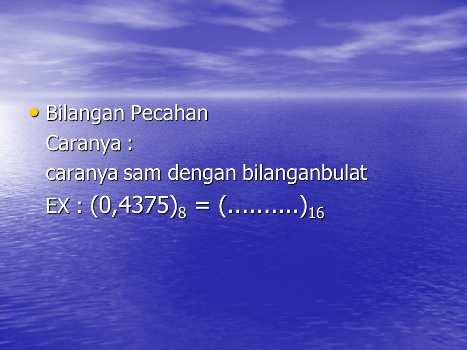 Bilangan Pecahan Bilangan Pecahan Caranya : caranya sam dengan bilanganbulat EX : (0,4375) 8 = (..........) 16