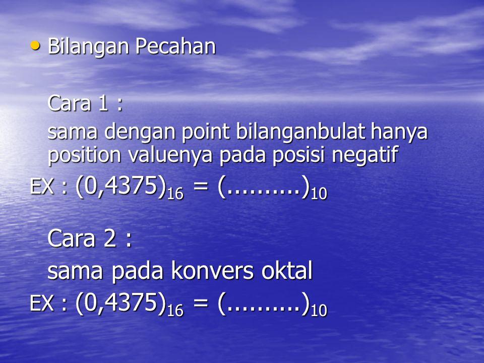 Bilangan Pecahan Bilangan Pecahan Cara 1 : sama dengan point bilanganbulat hanya position valuenya pada posisi negatif EX : (0,4375) 16 = (..........)