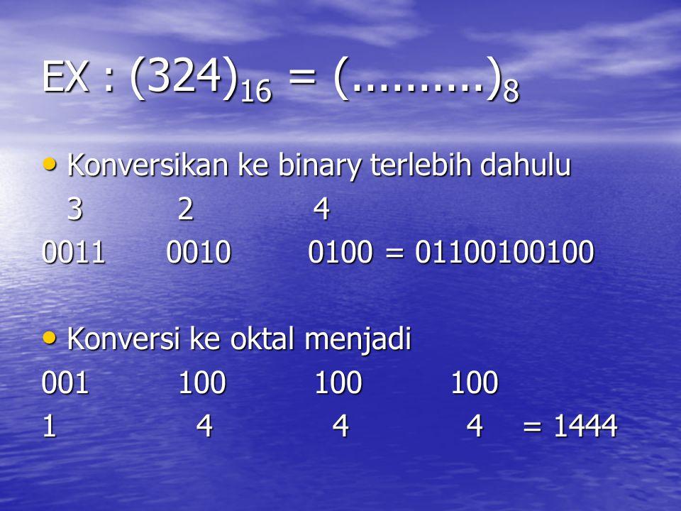 EX : (324) 16 = (..........) 8 Konversikan ke binary terlebih dahulu Konversikan ke binary terlebih dahulu 324324324324 0011 0010 0100 = 01100100100 K