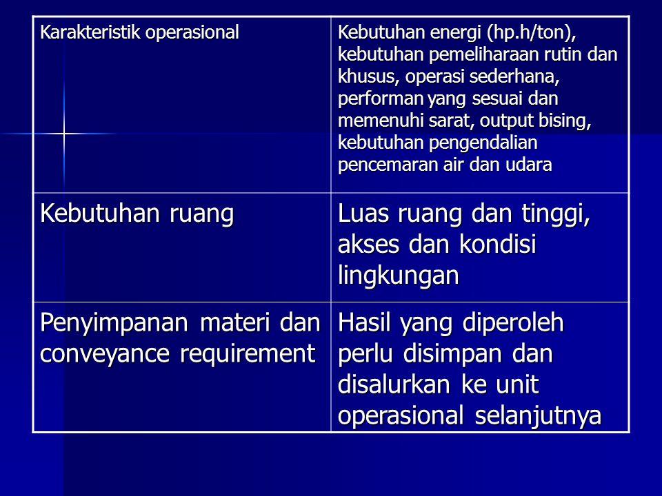 Karakteristik operasional Kebutuhan energi (hp.h/ton), kebutuhan pemeliharaan rutin dan khusus, operasi sederhana, performan yang sesuai dan memenuhi