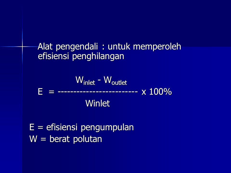Alat pengendali : untuk memperoleh efisiensi penghilangan Alat pengendali : untuk memperoleh efisiensi penghilangan W inlet - W outlet E = -----------