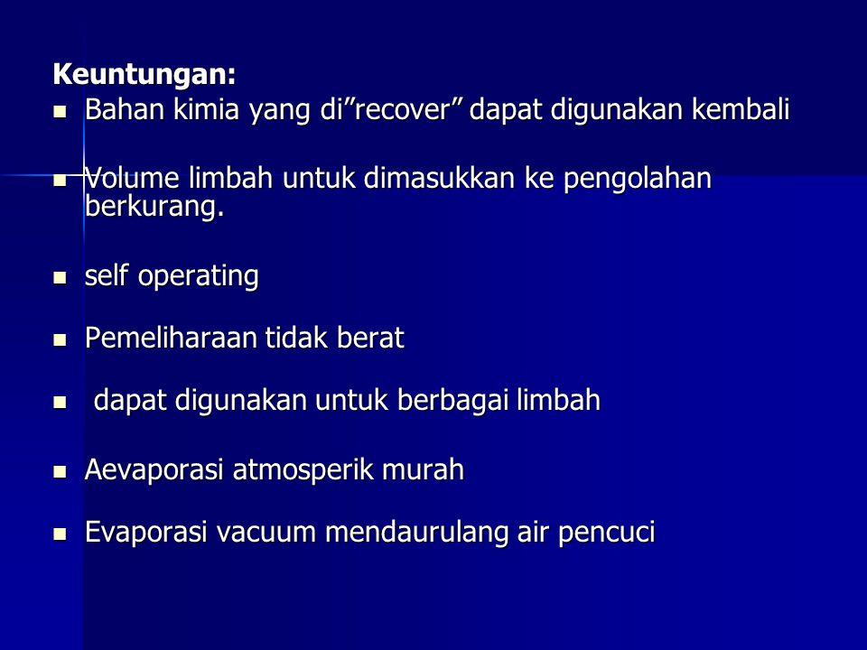 "Keuntungan: Bahan kimia yang di""recover"" dapat digunakan kembali Bahan kimia yang di""recover"" dapat digunakan kembali Volume limbah untuk dimasukkan k"