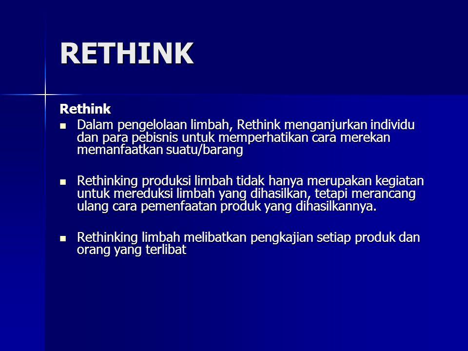 RETHINK Rethink Dalam pengelolaan limbah, Rethink menganjurkan individu dan para pebisnis untuk memperhatikan cara merekan memanfaatkan suatu/barang D