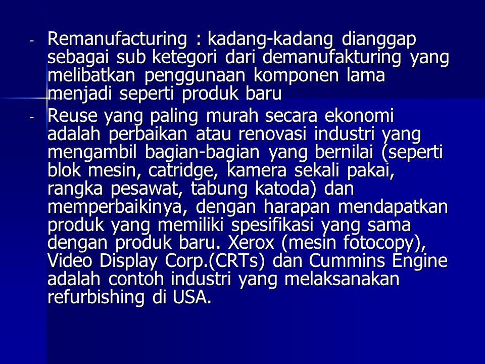- Remanufacturing : kadang-kadang dianggap sebagai sub ketegori dari demanufakturing yang melibatkan penggunaan komponen lama menjadi seperti produk b