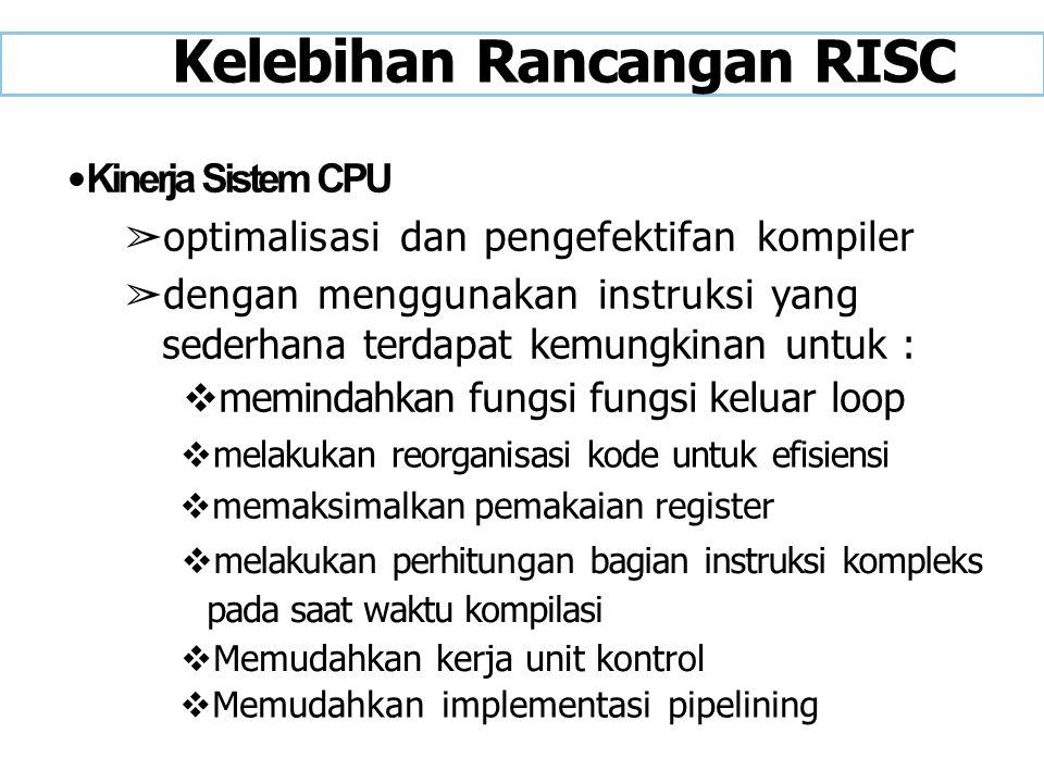 Kelebihan Rancangan RISC Kinerja Sistem CPU ➢ optimalisasi dan pengefektifan kompiler ➢ dengan menggunakan instruksi yang sederhana terdapat kemungkin