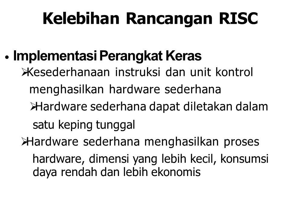 Kelebihan Rancangan RISC Implementasi Perangkat Keras  Kesederhanaan instruksi dan unit kontrol menghasilkan hardware sederhana  Hardware sederhana