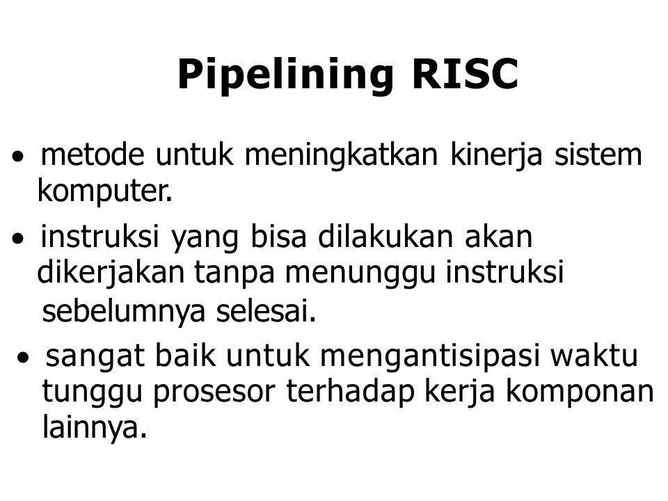 Pipelining RISC  metode untuk meningkatkan kinerja sistem komputer.  instruksi yang bisa dilakukan akan dikerjakan tanpa menunggu instruksi sebelumn
