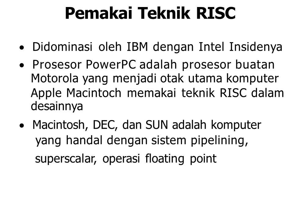 Pemakai Teknik RISC  Didominasi oleh IBM dengan Intel Insidenya  Prosesor PowerPC adalah prosesor buatan Motorola yang menjadi otak utama komputer A
