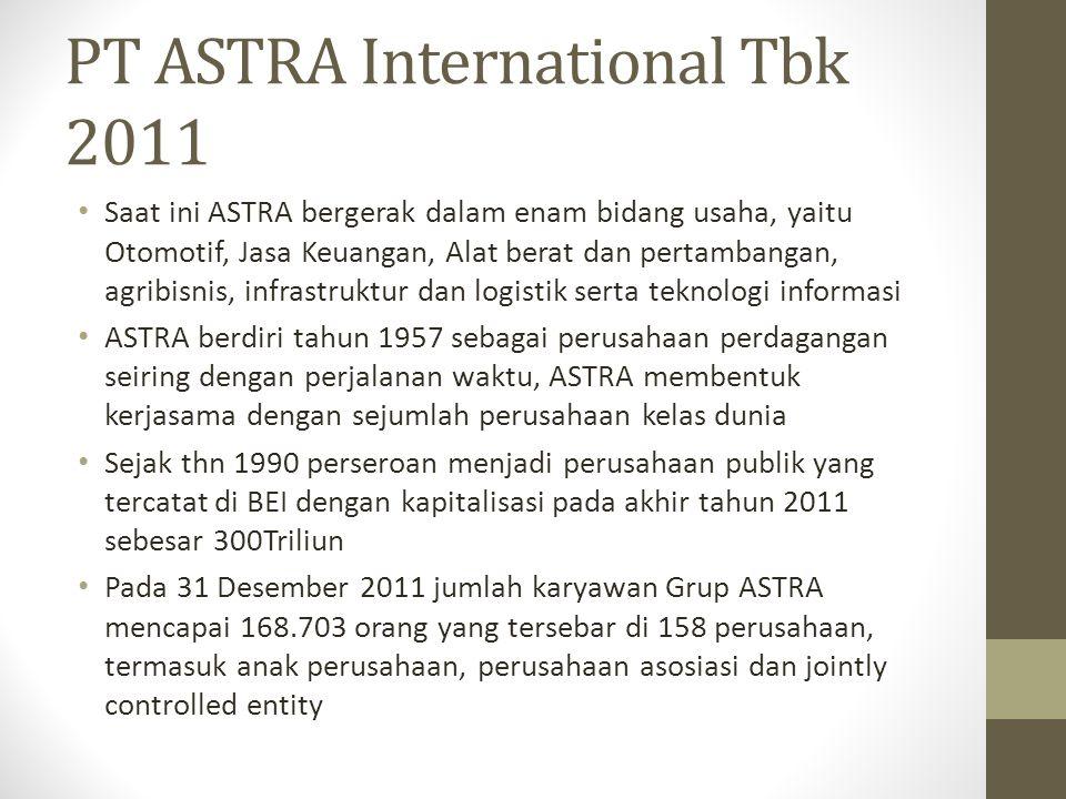 PT ASTRA International Tbk 2011 Saat ini ASTRA bergerak dalam enam bidang usaha, yaitu Otomotif, Jasa Keuangan, Alat berat dan pertambangan, agribisni