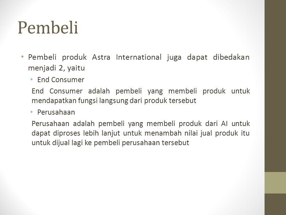 Nilai Produk bagi Pembeli Nilai produk Astra bagi End Consumer: Fungsi dari produk Astra Nilai produk Astra bagi Perusahaan: Fungsi dari produk Astra Ketenaran produk Astra di Indonesia