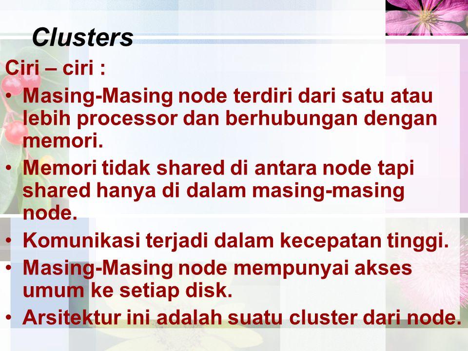 Clusters Ciri – ciri : Masing-Masing node terdiri dari satu atau lebih processor dan berhubungan dengan memori. Memori tidak shared di antara node tap