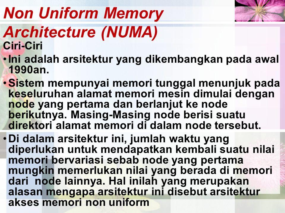 Non Uniform Memory Architecture (NUMA) Ciri-Ciri Ini adalah arsitektur yang dikembangkan pada awal 1990an. Sistem mempunyai memori tunggal menunjuk pa