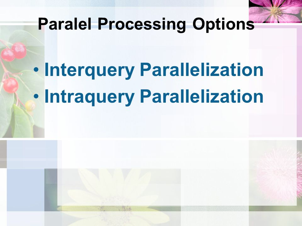 Paralel Processing Options Interquery Parallelization Intraquery Parallelization