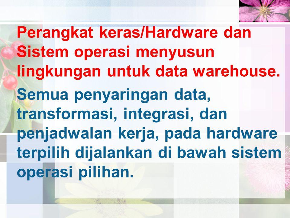 Perangkat keras/Hardware dan Sistem operasi menyusun lingkungan untuk data warehouse. Semua penyaringan data, transformasi, integrasi, dan penjadwalan