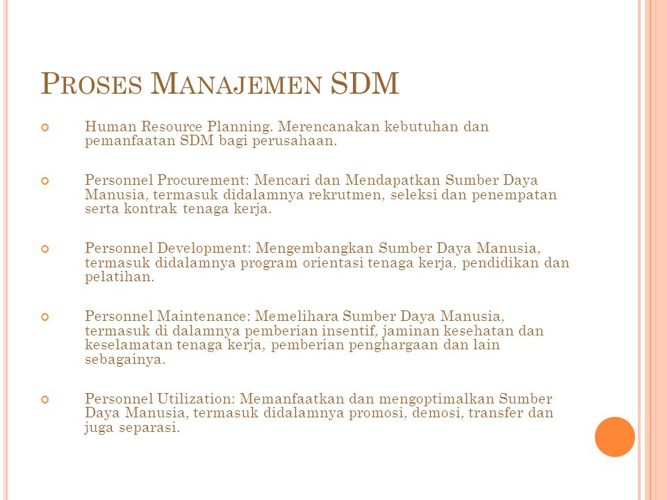 P ROSES M ANAJEMEN SDM Human Resource Planning.