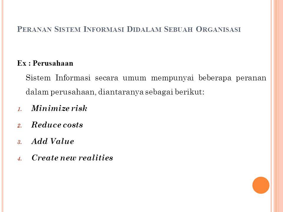 P ERANAN S ISTEM I NFORMASI D IDALAM S EBUAH O RGANISASI Ex : Perusahaan Sistem Informasi secara umum mempunyai beberapa peranan dalam perusahaan, diantaranya sebagai berikut: 1.