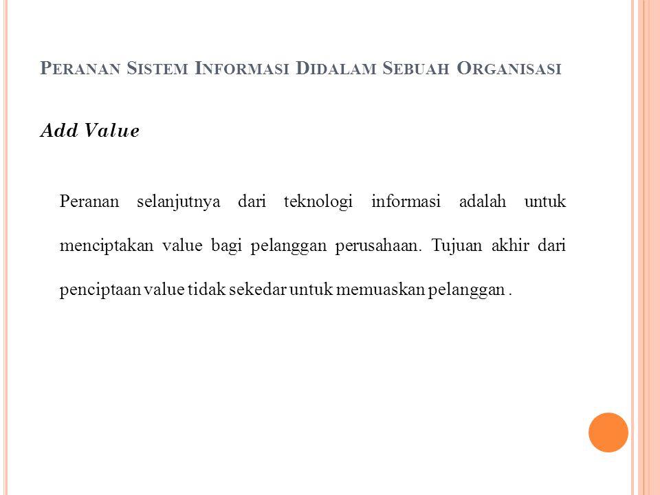 P ERANAN S ISTEM I NFORMASI D IDALAM S EBUAH O RGANISASI Add Value Peranan selanjutnya dari teknologi informasi adalah untuk menciptakan value bagi pelanggan perusahaan.