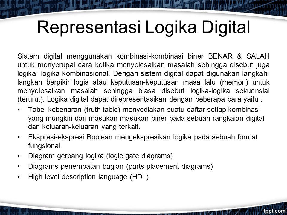 Representasi Logika Digital Sistem digital menggunakan kombinasi-kombinasi biner BENAR & SALAH untuk menyerupai cara ketika menyelesaikan masalah sehi