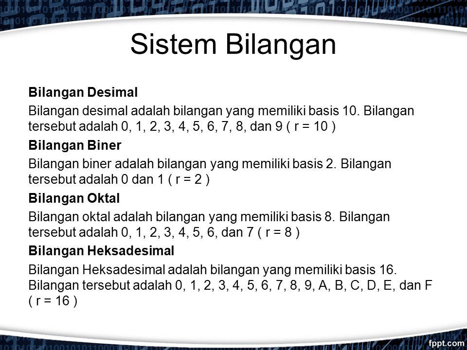 Bilangan Desimal Bilangan desimal adalah bilangan yang memiliki basis 10. Bilangan tersebut adalah 0, 1, 2, 3, 4, 5, 6, 7, 8, dan 9 ( r = 10 ) Bilanga