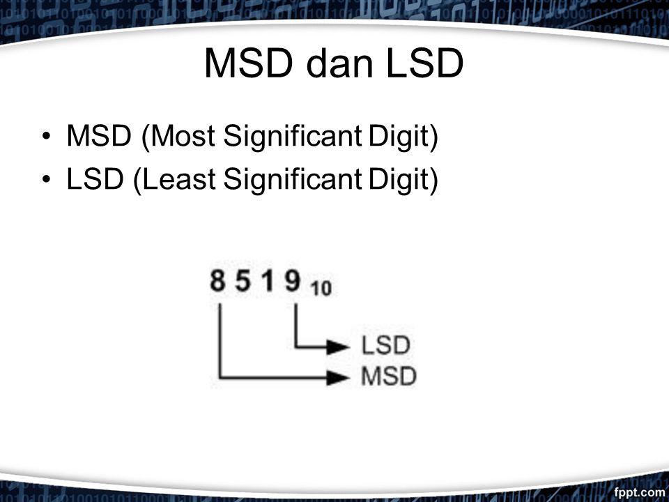 MSD dan LSD MSD (Most Significant Digit) LSD (Least Significant Digit)