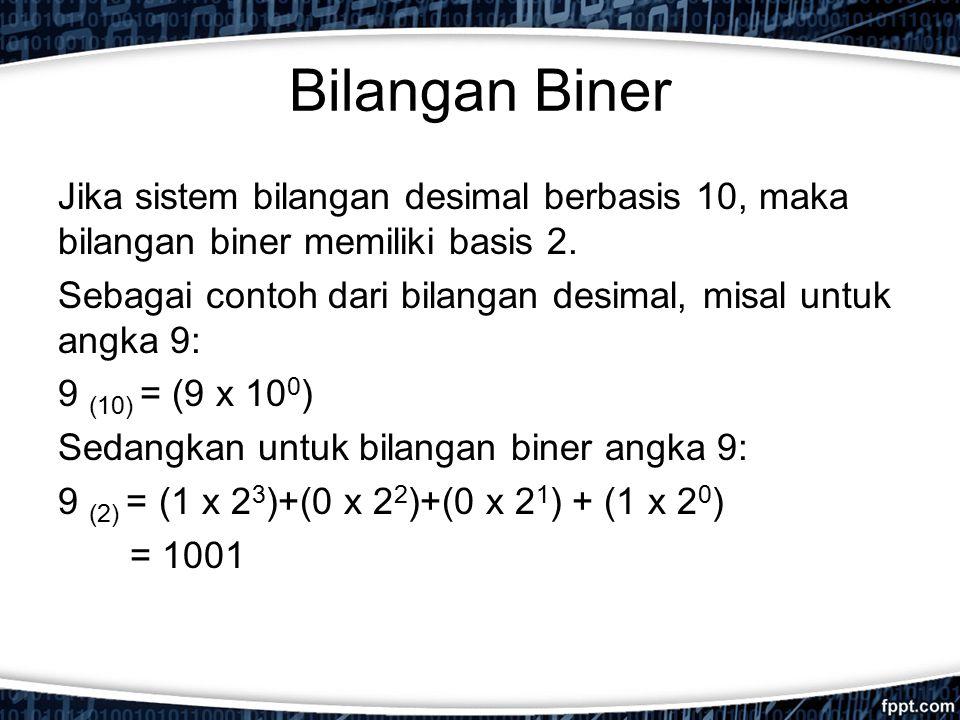 Bilangan Biner Jika sistem bilangan desimal berbasis 10, maka bilangan biner memiliki basis 2. Sebagai contoh dari bilangan desimal, misal untuk angka