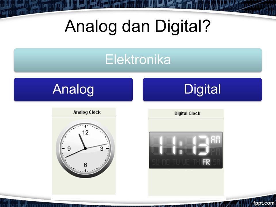 Analog vs Digital AnalogDigital Teknologi: Teknologi analog merekam bentuk gelombang sebagaimana aslinya Mengkonversi bentuk gelombang analog menjadi suatu set bilangan dan merekamnya.