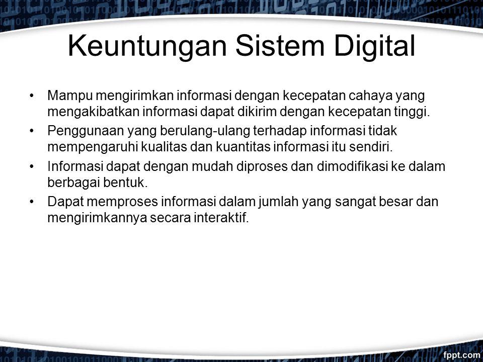 Keuntungan Sistem Digital Mampu mengirimkan informasi dengan kecepatan cahaya yang mengakibatkan informasi dapat dikirim dengan kecepatan tinggi. Peng