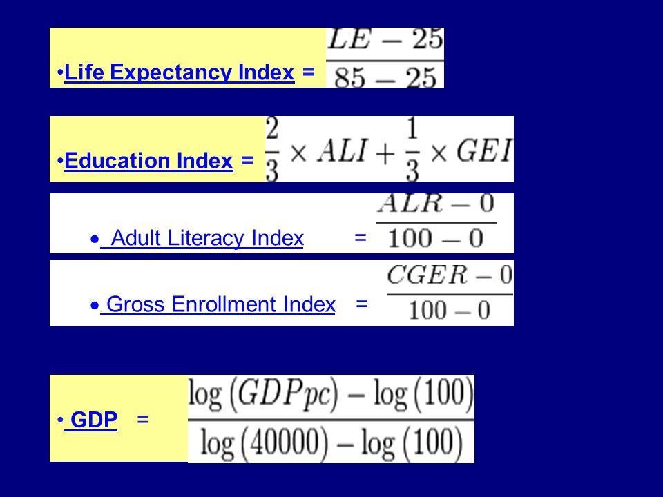 Life Expectancy Index =Life Expectancy Index Education Index =Education Index  Adult Literacy Index = =(ALI) = Adult Literacy Index  Gross Enrollment Index = (GEI) = Gross Enrollment Index GDP = GDP