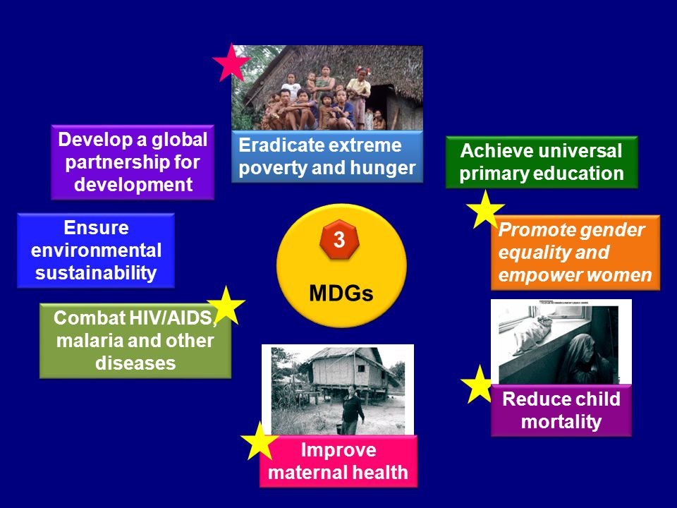 MDGs Achieve universal primary education Eradicate extreme poverty and hunger Combat HIV/AIDS, malaria and other diseases Ensure environmental sustainability Promote gender equality and empower women Develop a global partnership for development 3 3 Reduce child mortality Improve maternal health