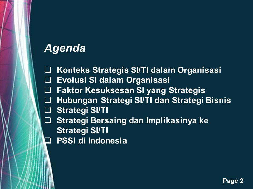 Free Powerpoint Templates Page 2 Agenda  Konteks Strategis SI/TI dalam Organisasi  Evolusi SI dalam Organisasi  Faktor Kesuksesan SI yang Strategis