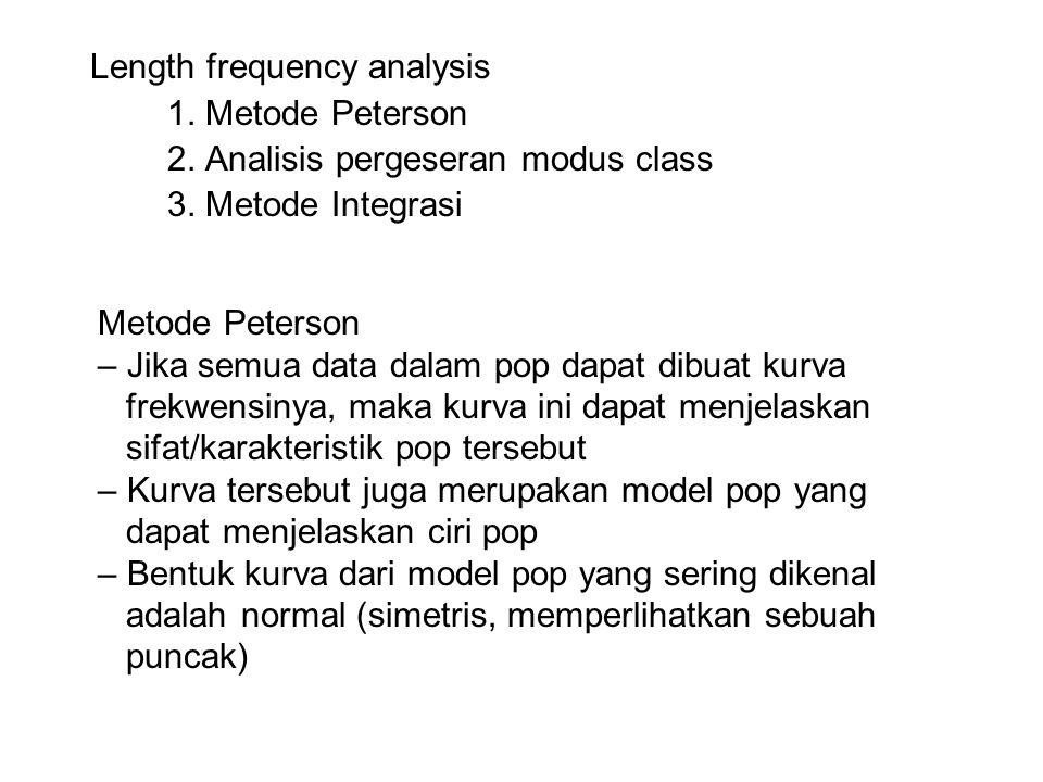 Length frequency analysis 1. Metode Peterson 2. Analisis pergeseran modus class 3. Metode Integrasi Metode Peterson – Jika semua data dalam pop dapat