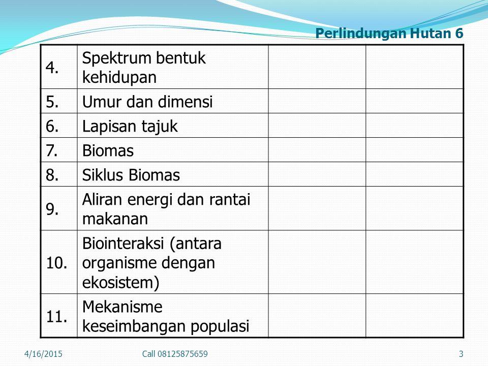 Perlindungan Hutan 6 4. Spektrum bentuk kehidupan 5.Umur dan dimensi 6.Lapisan tajuk 7.Biomas 8.Siklus Biomas 9. Aliran energi dan rantai makanan 10.
