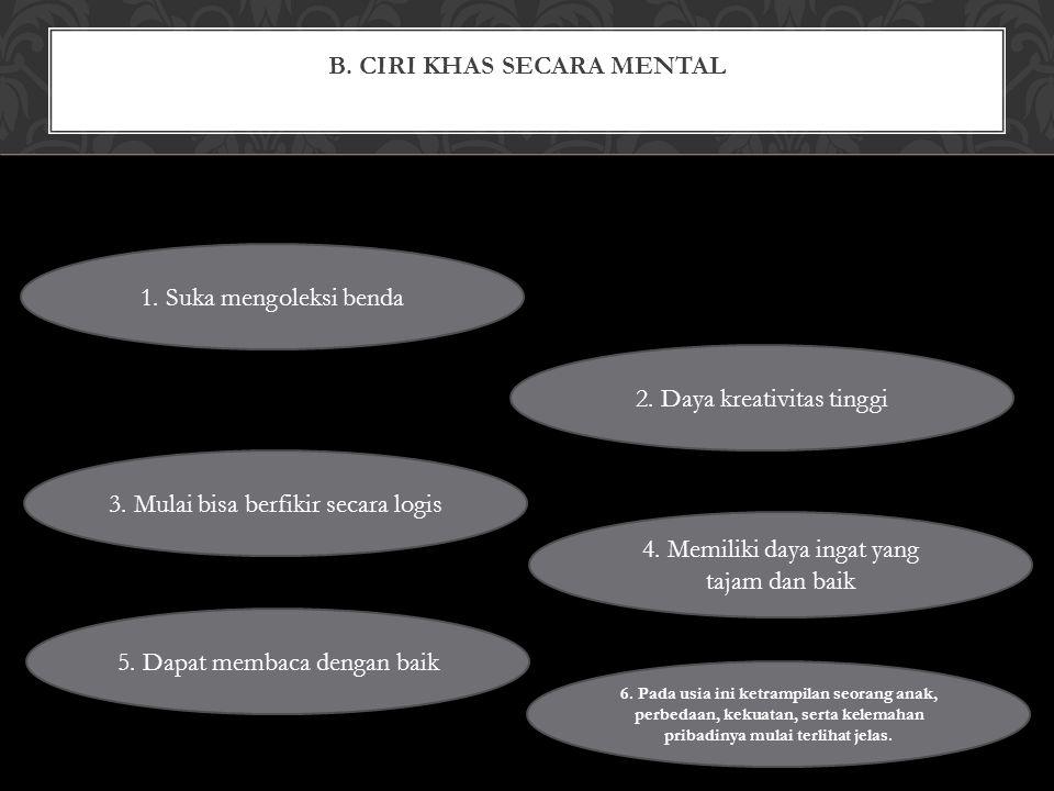 B. CIRI KHAS SECARA MENTAL 1. Suka mengoleksi benda 2.