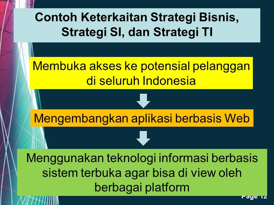 Free Powerpoint Templates Page 12 Contoh Keterkaitan Strategi Bisnis, Strategi SI, dan Strategi TI Membuka akses ke potensial pelanggan di seluruh Ind