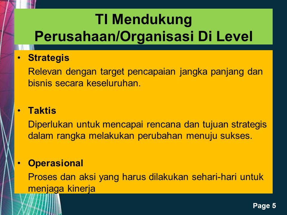 Free Powerpoint Templates Page 5 TI Mendukung Perusahaan/Organisasi Di Level Strategis Relevan dengan target pencapaian jangka panjang dan bisnis seca