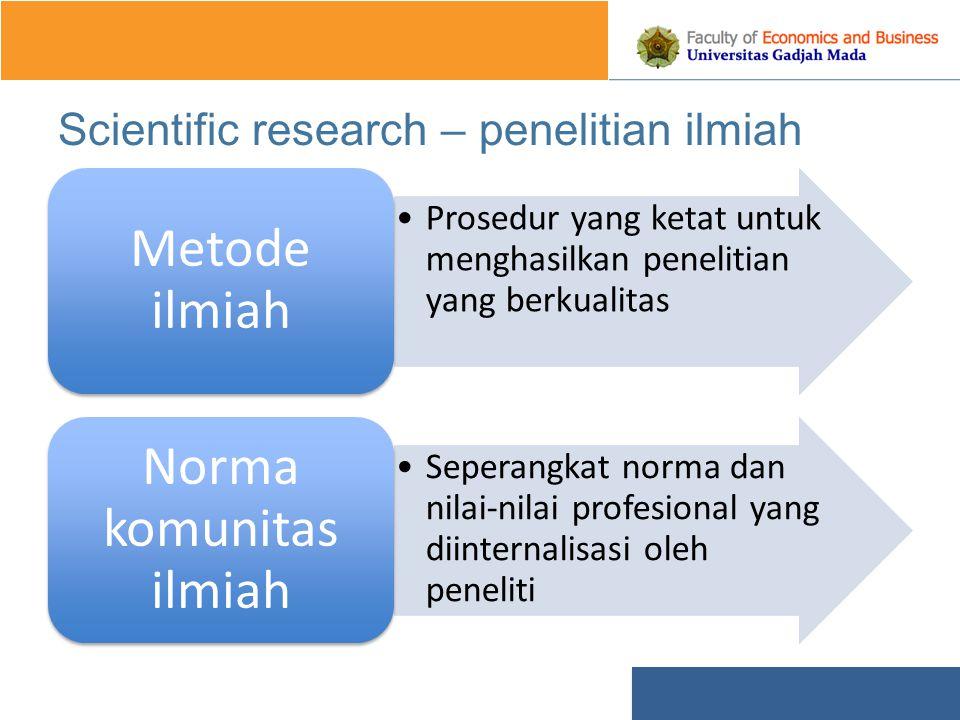 Scientific research – penelitian ilmiah Prosedur yang ketat untuk menghasilkan penelitian yang berkualitas Metode ilmiah Seperangkat norma dan nilai-nilai profesional yang diinternalisasi oleh peneliti Norma komunitas ilmiah