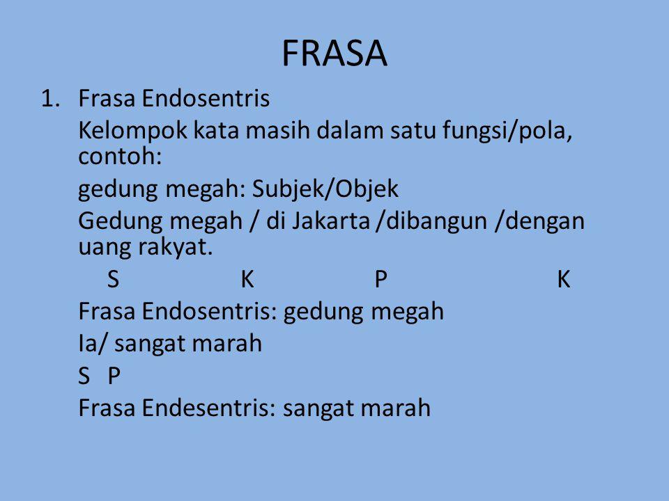 FRASA 1.Frasa Endosentris Kelompok kata masih dalam satu fungsi/pola, contoh: gedung megah: Subjek/Objek Gedung megah / di Jakarta /dibangun /dengan u