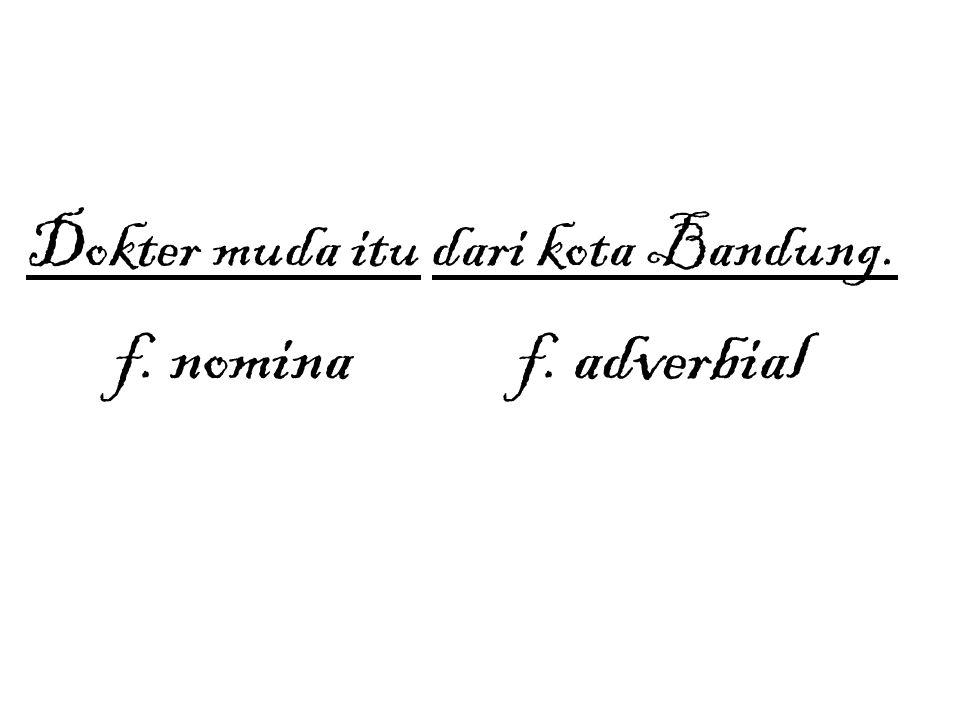 Dokter muda itu dari kota Bandung. f. nomina f. adverbial
