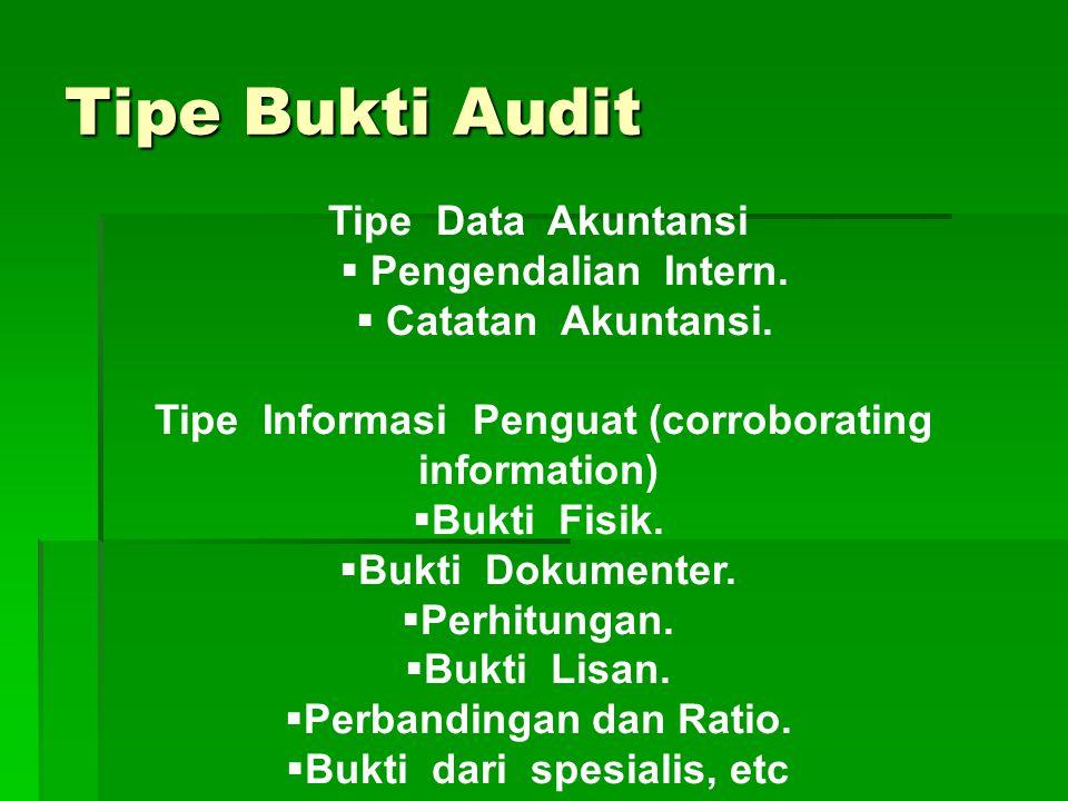 Bukti audit adalah segala informasi yang mendukung data yang disajikan dalam laporan keuangan, yang terdiri dari data akuntansi dan informasi pendukun