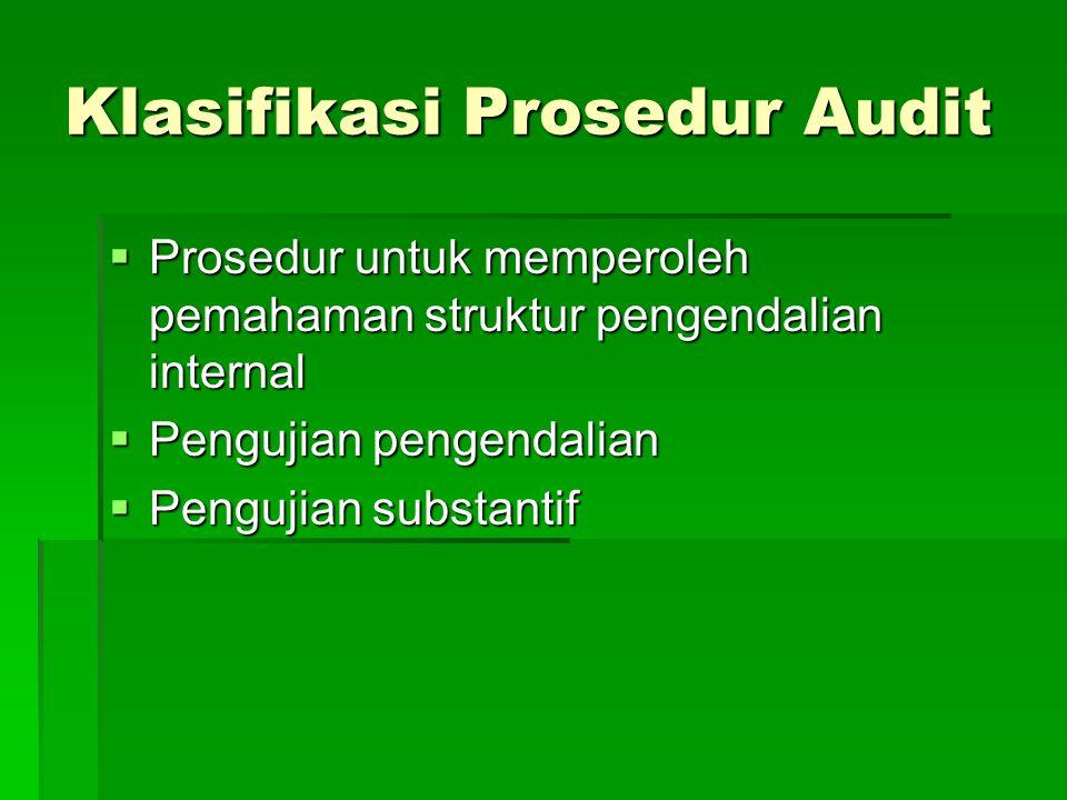 Prosedur audit yang dapat digunakan untuk memperoleh bukti yang kompeten atau dapat dipercaya adalah : Inspeksi Pembuktian ( vouching ) Observasi Kalk