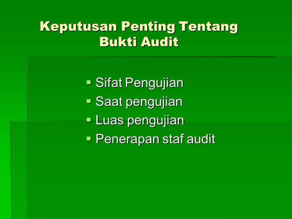 Jenis Bukti Audit 1.Struktur Pengendalian Intern 2.Bukti Fisik 3.Catatan akuntansi 4.Konfirmasi 5.Bukti Dokumenter 6.Bukti Surat Pernyataan Tertulis 7.Perhitungan kembali sebagai bukti matematis 8.Bukti Lisan 9.Bukti Analitis & Perbandingan