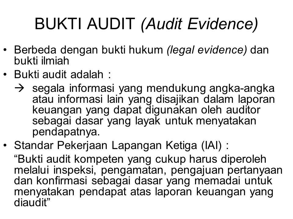 BUKTI AUDIT (Audit Evidence) Berbeda dengan bukti hukum (legal evidence) dan bukti ilmiah Bukti audit adalah :  segala informasi yang mendukung angka