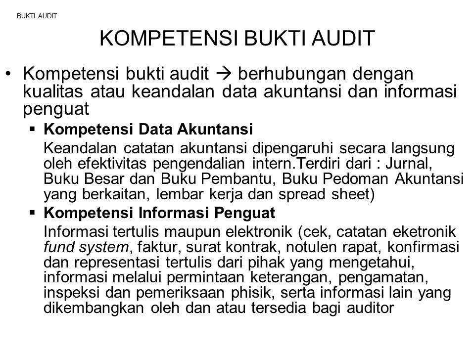 BUKTI AUDIT Syarat kompetensi bukti audit (merupakan pertimbangan auditor) :  Relevansi  Objektivitas  Ketepatan waktu  Keberadaan bukti audit lain  Sah  Sumber  Cara perolehan bukti Konrath (2002:114 & 115) ada enam tipe bukti audit (lihat Exhibit 5-1) : 1.