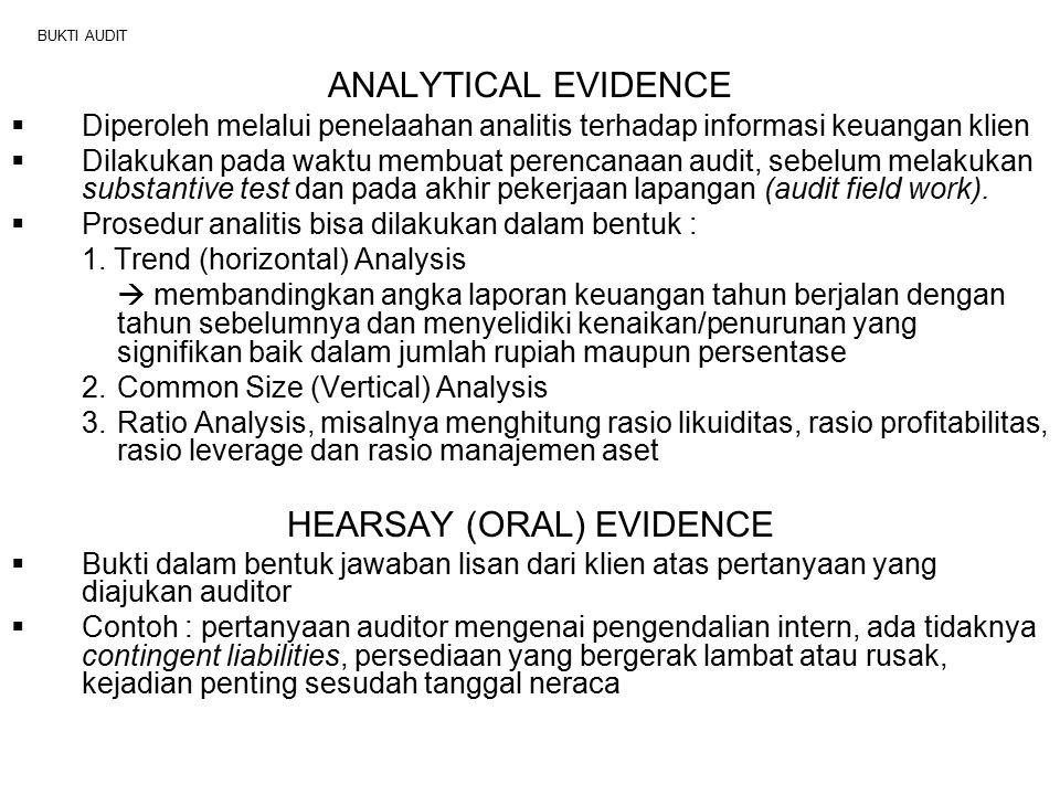 BUKTI AUDIT ANALYTICAL EVIDENCE  Diperoleh melalui penelaahan analitis terhadap informasi keuangan klien  Dilakukan pada waktu membuat perencanaan a