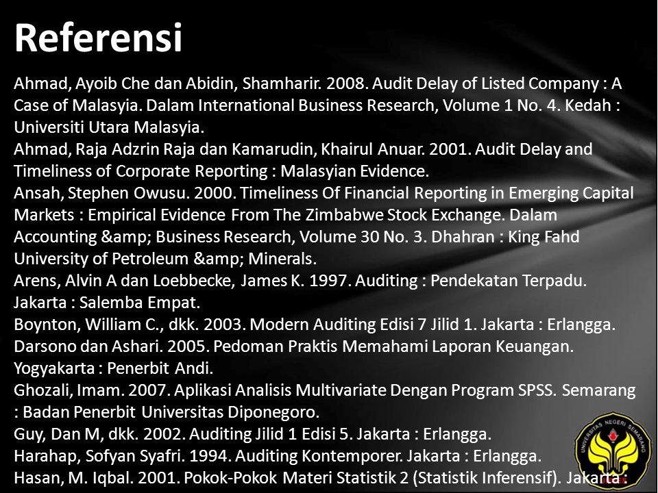 Referensi Ahmad, Ayoib Che dan Abidin, Shamharir. 2008. Audit Delay of Listed Company : A Case of Malasyia. Dalam International Business Research, Vol