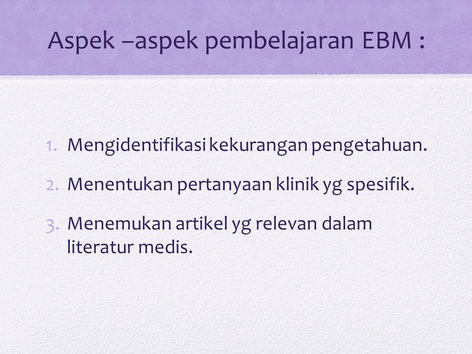 Aspek –aspek pembelajaran EBM : 1.Mengidentifikasi kekurangan pengetahuan.