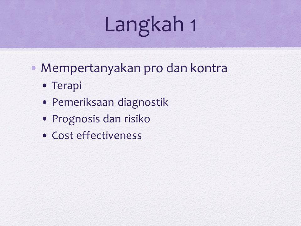 Langkah 1 Mempertanyakan pro dan kontra Terapi Pemeriksaan diagnostik Prognosis dan risiko Cost effectiveness