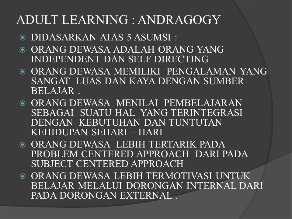ADULT LEARNING : ANDRAGOGY  DIDASARKAN ATAS 5 ASUMSI :  ORANG DEWASA ADALAH ORANG YANG INDEPENDENT DAN SELF DIRECTING  ORANG DEWASA MEMILIKI PENGALAMAN YANG SANGAT LUAS DAN KAYA DENGAN SUMBER BELAJAR.